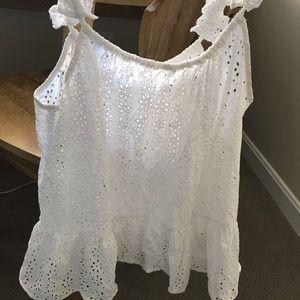 Madewell lace ruffle strap tank